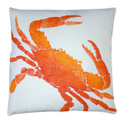 Big Crab Clementine Pillow - This beautiful Big Crab Clementine Pillow is the perfect way to add a pop of color to your beach living room or coastal bedroom. Made of flawless white linen, this bright orange block print pillow will be the one thing that draws the eye of your guests as they enter the room. When everyone else is settling for boring and unimaginative pillows, you will feel proud that you purchased something truly unique for your space. Ink is environmentally-sensitive and water-based, without solvents, lead or heavy metals. Washable and colorfast