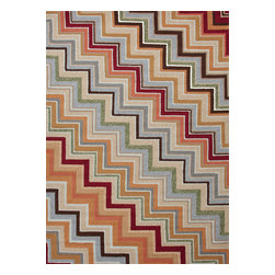 Jaipur Rugs - Stripe Pattern Red /Orange Indoor/ Outdoor Rug - CO05, 2x3 - Bring visual pop to outdoor living with the Colours I-O Collection. This energetic range of stripe, zigzag and stair-step designs bring together a myriad of multicolor palettes all in durable, hand-hooked polypropylene construction. With its fashion-forward styles and bold scale, each design can function in a broad range of contemporary and transitional spaces both indoor and out.