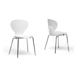 Wholesale Interiors - Boujan White Plastic Modern Dining Chairs, Set of 2 - Clean, casual, and contemporary, the curves of the Boujan Dining Chair will captivate you! These stackable chairs are made with durable hard white plastic seats secure atop chromed steel legs. Non-marking feet finish them off as does the lightly ridged seat design.