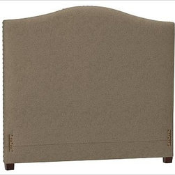 """Raleigh Nailhead Camelback Headboard, King., everydaysuede(TM) Pewter - Crafted by our own master upholsterers in the heart of North Carolina, our upholstered bed and headboard is available in a graceful camelback silhouette. Crafted with a kiln-dried hardwood frame. Headboard, footrail and siderails are thickly padded and tightly upholstered with your choice of fabric. Nailhead detail trims the outer edges of the headboard. Exposed block feet have a hand-applied espresso finish. Headboard also available separately. The headboard-only option is guaranteed to fit with our PB metal bedframe using the headboard hardware. Bed is designed for use with a box spring and mattress. This is a special-order item and ships directly from the manufacturer. To see fabrics available for Quick Ship and to view our order and return policy, click on the Shipping Info tab above. This item can also be customized with your choice of over {{link path='pages/popups/fab_leather_popup.html' class='popup' width='720' height='800'}}80 custom fabrics and colors{{/link}}. For details and pricing on custom fabrics, please call us at 1.800.840.3658 or click Live Help. View and compare with other collections at {{link path='pages/popups/bedroom_DOC.html' class='popup' width='720' height='800'}}Bedroom Furniture Facts{{/link}}. Crafted in the USA. Full: 57.5"""" wide x 83.5"""" long x 59"""" high Queen: 64.5"""" wide x 88.5"""" long x 59"""" high King: 80.5"""" wide x 88.5"""" long x 59"""" high Cal. King: 74.5"""" wide x 92.5"""" long x 59"""" high Full: 57.5"""" wide x 4.5"""" thick x 59"""" high Queen: 64.5"""" wide x 4.5"""" thick x 59"""" high King: 80.5"""" wide x 4.5"""" thick x 59"""" high Cal. King: 74.5"""" wide x 4.5"""" thick x 59"""" high"""