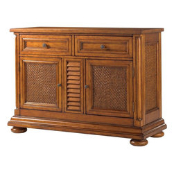 Lexington - Tommy Bahama Home Island Estate Antigua Server - Great things come in pairs, two doors with two adjustable shelves, and two felt-lined drawers, one divided for silver.