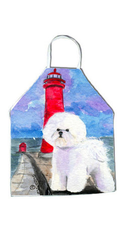 Caroline's Treasures - Lighthouse with Bichon Frise Apron - Apron, Bib Style, 27 in H x 31 in W; 100 percent  Ultra Spun Poly, White, braided nylon tie straps, sewn cloth neckband. These bib style aprons are not just for cooking - they are also great for cleaning, gardening, art projects, and other activities, too!