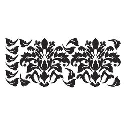 RoomMates - Damask (Black) Peel & Stick Wall Decals - Damasks are back and have become a staple of today's cool and sophisticated room decor. In this set, you get two gorgeous oversized peel and stick black damasks, plus a few additional embellishment so you can extend the design (or add them somewhere else for coordination). These give you the exact feel of a stenciled look... but unlike stencils or rub on decals (which often force you to repaint the entire wall), our RoomMates Damasks remove in seconds and reposition easily without damaging the surface or leaving behind a sticky residue. These are guaranteed to become the focal point of any room they adorn!