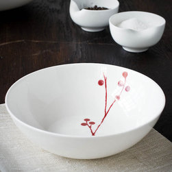Bodo Sperlein - Bodo Sperlein Red Berry Pudding Bowl - These contemporary but classic designs are internationally renowned for their unique modern style. Made of the finest porcelain and finished in the Red Berry pattern, these hand painted pieces will make any home or table look elegant and fresh.