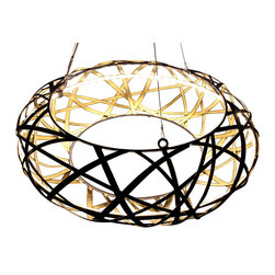 Bodner Chandeliers - Korbis Chandelier - Stunning hand woven steel chandelier with 12v LED lights. Hand finished in antique bronze with a gold gilt rub interior. Cable suspension with an 8' overall drop (can be shortened). 12v transformer provided.