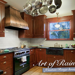 Art of Rain - Copper Range Hood- Camillia - Camillia is Art of Rain's famous copper range hood design. Finished with copper straps, buttons and Old Penny patina. Email for information: info@artofrain.com