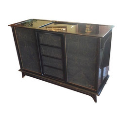 Used Magnavox Mid-Century Radio with Turn-Table - Groove with me baby! This retro Mid-Century Modern Magnavox radio with turn-table and metallic gold scribble design over the speaker panels is retro cool. It features a black glass top with sliding central panel. It would be fun to strip it out and use as a storage console or a pop-up mini bar!    The radio does not work and should either be rewired, replaced, or striped and repurposed.