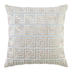 """DL Rhein - DL Rhein Greek Key Blue Embroidered Velvet Pillow - DL Rhein puts a luxurious spin on the classic pattern of the Greek Key pillow. Embroidered with sophisticated grey stitching on a light blue velvet pillow, this simple design accents contemporary decor with grace and style. 20"""" x 20""""; Velvet pillow with embroidered detail; Feather down insert included; Dry clean only"""