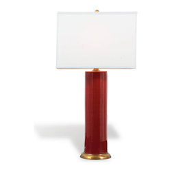 Port 68 - Melrose Lamp, Ruby - Rich color and eye-catching design combine in the sophisticated Melrose Lamp. Featuring a white square shade and deep, saturated ruby tone accented with a solid brass base and metal ball finial, this porcelain cylinder lamp works well in transitional home decor. 100 watt maximum, 3-way switch.   UL Listed.