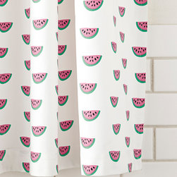 """Serena & Lily - Serena & Lily Watermelon Shower Curtain - Printed with painterly detail against bright white, each watermelon pops in shades of juice, black and green. It's a sweet blend of color and nostalgia. 100% cotton canvas Machine wash Made in Portugal Shower curtain recommended; sold separately 72""""SQ Item#: SHC12-01"""
