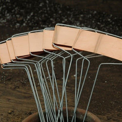 Copper Plant Markers - These copper plant markers would age and patina beautifully in an outdoor space.