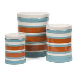 Miles Striped Canisters - Set of 3 - The contrasting color scheme of this set of three blue, orange and white canisters add interest while making a beautiful set of storage pieces for home or office.