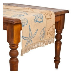 Ecoaccents - ecoaccents Shell Burlap Table Runner - Add some coastal charm to your dining room with the Shell table runner. Finished with a decorative, cut jute fringe this natural burlap runner is detailed with an assortment of starfish and seashells.