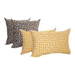Land of Pillows - Towers Bay Brown and Towers Citrus Yellow Outdoor Throw Pillows - Set of 4 - Give your sofa, window seat or patio lounge chair a boost of color and design with these modern throw pillows. This set of four green key patterned pillows are filled with high quality fiber and sewn closed. All four pillows have a white background, but for added intrigue, the two square pillows have the interlocking design in black, and the rectangular pillows are in a cool yellow. Crafted from a durable fabric that is stain, water and fade resistant, these chic pillows work great indoors or out!