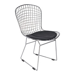 Hampton Modern - Bertoia Style Dining Side Chair, Black - This attractive dining or accent chair features a metal wire frame with a leatherette seat cushion.  Very popular for placing around wood table for a modern organic look meshed with modernity.