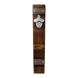 Alpine Wine Design - Wall Mount Bottle Opener, Dark Walnut - Wall mounted bottle opener handcrafted from a recycled Napa Valley wine barrel.  Adds a touch of rustic elegance to entertaining spaces.  Mounts directly to the wall.  Limited hardware included.  Indoor finish.  Available in natural and dark walnut.