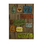 Live Laugh Love Tin and Wood Decor - *Rustic feel, these words to live by colorfully rest on a wooden plank.