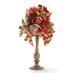 Camden Pedestal Topiary - This pedestal topiary comes in two sizes (20 inches and 23 inches) and would look lovely as a centerpiece on your dining room table. Or pair the two different sizes on your fireplace mantel or entryway table. The faux fruits and ribbon are exploding with fall colors.