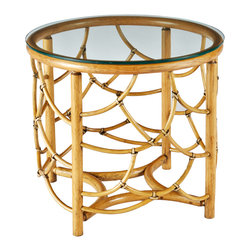 Selamat Designs - DOT Table, Nutmeg, Side Table - Pole rattan delicately bent and mitered to create layered shapes mimicking feathers, with tempered glass top.