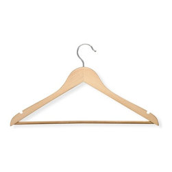 Box Of 24 Wood With Non-Slip Bar- Maple Finish - Honey-Can-Do HNG-01334 24-Pack Suit Hanger, Maple. Beautiful, wooden clothes hanger has a contoured design perfect for keeping shirts, dresses, and jackets wrinkle-free. Features a 360 degree swivel rod hook to hang items easily on any closet rod, towel bar, or standard size door. Non-slip vinyl coated pant bar holds fabrics perfectly in place. A gorgeous upgrade for any closet space.