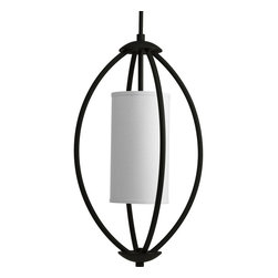 Progress Lighting - Progress Lighting P3937-80 2-Lt. Foyer w/White Linen Fabric ShadeCalven Collecti - Progress Lighting P3937 Calven 2-Light Foyer Light Bold, graphic lines and architectural details highlight the opal etched glass in the Calven collecti