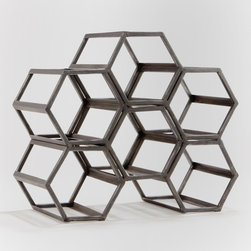 Black Hexagonal Wine Rack - Here's a hexagonal wine rack for the 21-and-over dorm room or apartment. Multiple racks can be stacked or set side by side to accommodate more bottles.