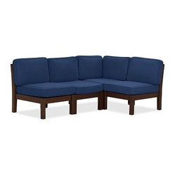 Chesapeake 4-Piece Sectional (3 arm + 1 cnr) & Solid Box Cushion Set, Ink Blue