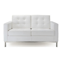 IFN Modern - Florence Knoll Style Loveseat-White - 100% Italian Leather - Florence Knoll, an acclaimed architect and designer, first conceived this beautiful chair in 1956. Knoll's philosophy for furniture design comes from the value that she placed on practicality and aesthetic beauty. The pieces resulting from her philosophical vision are considered to be minimalistically beautiful without compromising on durability and comfort. Knoll was also known to study and collaborate with renowned architect and designer Mies Van Der Rohe, this collaboration also lended a hand in her highly sought after artistic vision. The classic trio was designed by Knoll using a durable stainless steel frame with minimal materials. The chair features beautiful cubic cushions complimented with compressed buttons in a functional layout which provides both style and comfort to the thin, minimalist supporting arms. The Knoll Sofa, Loveseat, and Chair are becoming more and more highly desired as their minimal yet practical design can adapt perfectly into today's modern home or space.â— 100% Full Grain Italian Leatherâ— Fully upholstered in 100% Full Grain Italian leather grade, including all sides, back and detailing; not Leather Match, Bonded Leather etc.â— High Polished Solid Stainless Steel base frame ensures no chipping or rustingâ— Piping and Buttons covered in 100% Full Grain Italian leatherâ— Traditional hardwood box frame constructionâ— Reinforced bottom seat cushion platform for firm long lasting comfortâ— Corner Stainless Steel base joints are fully welded, grind, sealed and sandedâ— Multi density foam seat and back cushions wrapped in silk layer provide comfort and cushion structure memoryâ— Cushions CA-117 fire retardant compliantâ— Remove-able back and seat cushions feature rear zippersâ— Complete with floor protection pad caps on legs