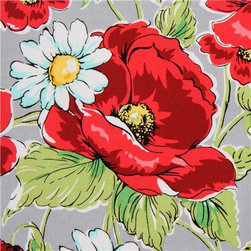 grey Michael Miller flower fabric with poppies - designer fabric by Swirly Girls Design with red poppies and white daisies