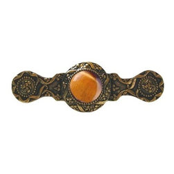 "Inviting Home - Victorian Pull (24K gold plate with tiger eye) - Victorian Pull in 24K gold plate with tiger eye semi-precious stone 3-7/8""W x 1-1/4""H Product Specification: Made in the USA. Fine-art foundry hand-pours and hand finished hardware knobs and pulls using Old World methods. Lifetime guaranteed against flaws in craftsmanship. Exceptional clarity of details and depth of relief. All knobs and pulls are hand cast from solid fine pewter or solid bronze. The term antique refers to special methods of treating metal so there is contrast between relief and recessed areas. Knobs and Pulls are lacquered to protect the finish. Alternate finishes are available. Tiger Eye semi-precious stone is chalcedonies quartz with a very silky luster that changes with the different light that hits it. Some Tiger Eye stones contain different color strips. It is a common belief that if you hold tiger eye stone it helps your overall spiritual well-being and health. It is a traditional gift for a 9th wedding anniversary. Victorian Jewel pulls and knobs will allow you to have so much fun with the design. The pulls and knobs come in five different kinds of semi-precious stones: Black Onyx Tiger Eye Blue Sodalite Red Carnelian and Green Aventurine. You can even use all of the different colors of the semi-precious stones on one cabinet fa�ade�which would give it an eclectic and playful look."