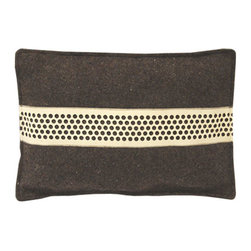 The Felt Store - 11.5 x 16 Inch Rectangle Stripe Cushion - The Stripe Cushion features dark gray industrial felt and one strip of The Felt Store's Honeycomb material. This particular cushion has a very modern style, and is perfect on any sofa or chair! It is a perfect piece for your home or office, and makes a unique gift. This particular cushion is rectangular in shape, and measures 11.5 inches x 16 inches(292.1mm x 406.4). The cushion is filled with 100% wool fibers enclosed in a cotton case. To clean, spot clean with warm water or dry clean.