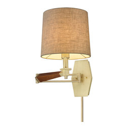 Elk Lighting - Elk Lighting 31322/1 Jorgenson 1 Light Swingarm Sconce in Mahogany & Satin Brass - 1 Light Swingarm Sconce in Mahogany & Satin Brass belongs to Jorgenson Collection by Elk Lighting The Jorgenson Collection Stylishly Bridges The Gap Between Mid-Century Modern Furniture Design And Lighting.��_��__ This Collection Was Designed Using Solid Wood That Emulates The Tapered Angle Of Fine Furniture Legs And Angular Metalwork That Compliments Its Sleek Style.��_��__ Choose Between Two Combinations Of Taupe Wood, Polished Nickel Metalwork And Champagne Fabric Shades, Or Mahogany Finished Wood, Satin Brass Metalwork And Tan Crosshatch Textured Linen Shades. Sconce (1)