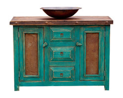 Rustic Turquoise Vanity, 36x20x32 - A turquoise bathroom vanity. The vanity has 3 drawers in the middle, where the top drawer is false to allow for plumbing behind. The sides of the doors have iron plating which gives this piece a unique and rustic feel. The top is coated with polyurethane to protect it from water damage.