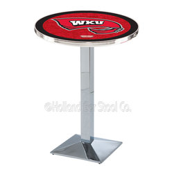 Holland Bar Stool - Holland Bar Stool L217 - Chrome Western Kentucky Pub Table - L217 - Chrome Western Kentucky Pub Table belongs to College Collection by Holland Bar Stool Made for the ultimate sports fan, impress your buddies with this knockout from Holland Bar Stool. This L217 Western Kentucky table with square base provides a commercial quality piece to for your Man Cave. You can't find a higher quality logo table on the market. The plating grade steel used to build the frame ensures it will withstand the abuse of the rowdiest of friends for years to come. The structure is triple chrome plated to ensure a rich, sleek, long lasting finish. If you're finishing your bar or game room, do it right with a table from Holland Bar Stool. Pub Table (1)