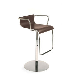 Calligaris - Vertigo Arm Swiveling Stool w/ Gas Lift, Coffee - As soon as you enter the kitchen, the clean lines of this handsome Italian stool will speak to you. Rich coffee leather and a padded, adjustable seat offers you stylish comfort in just the right spots.