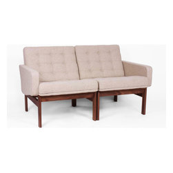 Brady Sweater Two-Seater - This vintage-inspired mid-century modern design two-seater is made of solid American walnut, its natural-toned beige fabric featuring tufting and welting and buttons to ensure many years of use. Showcase this two-seater individually, or pair up with another seat, or our featured one-seater as a beautiful set in your living room. These sofas are perfect for a household that is light and airy with a modern edge.