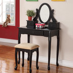 Black Vanity Table - This beautiful classic style vanity set will be a welcome addition to your master bedroom or dressing area. The makeup table has a smooth table top for all of your essentials, with three small drawers for frequently used items like make-up and cosmetics products.