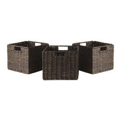 "Winsomewood - Granville Foldable 3-Piece Small Corn Husk Baskets, Chocolate - Granville set of 3 small foldable baskets is made of corn husk in chocolate color. Baskets open size is 11""W x 10.24""D x 9""H and folded is 19.88"" x 9.45"" x 1.97-2.36"" thick."