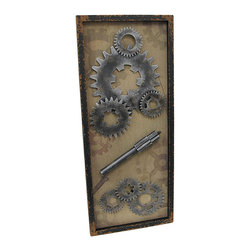 Steampunk Framed Metal Gears and Shaft on Burlap Vertical Wall Hanging - This wall hanging makes a great gift for your favorite gearhead, and it complements industrial urban themed decor. It measures 31 1/2 inches long, 13 inches wide, 1 1/4 inches deep, and mounts to the wall vertically by metal triangle hangers on the back. The black wooden frame has a wonderfully distressed finish, while the inside of the frame is lined with burlap that is printed with images of gears and bolts. The metal gears and shaft are screwed into the wooden backing so you can be sure they won`t fall off over time. This piece looks great in homes and offices, and it is sure to be admired.