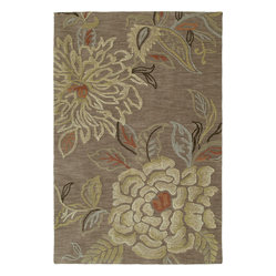 Kaleen - Kaleen Inspire Sensation 9' x 12' Mocha Rug - Easygoing, elegant and bursting with bold blooms, this fabulous floor covering is stylish, indeed. Generously overtufted and sumptuously textured, it's also a seriously soft treat for your feet.