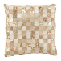 Horchow - Hairhide Mosaic Metallic Pillow - Marvel at the mosaic design of this metallic leather and hairhide accent pillow. The neutral hue is sure to add just the right amount of subtle, exotic shimmer to your decor. Handcrafted of leather and hairhide with basketweave polyester backing. Pil...