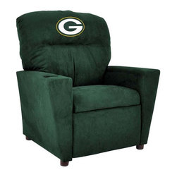 Imperial International - Green Bay Packers NFL Kids Recliner - Check out this awesome Kids Recliner. Now the whole family can join in and watch the game in their favorite chair! It has a great contemporary design with team color microfiber all over, and a cup holder. The team logo is embroidered and sewn on the headrest. It's perfect for your Man Cave, Game Room, Garage or Basement.