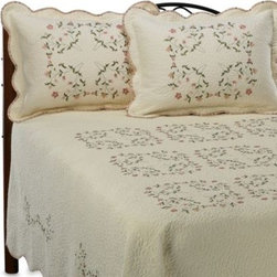 Peking Handicraft Inc. - Cheryl Bedspread - This Cheryl bedspread features embroidered peachy pink and kelly green colors stitched to perfection over a vermicelli quilted ecru background. This antiqued look also presents scalloped edges with a contrasting floral fabric for a charming, soft design.