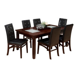 Jofran - Jofran 863-72 Chadwick 7 Piece Rectangle Extension Dining Room Set in Espresso - This contemporary look can serve as both casual and formal dining space in your home. The table and server feature two crackled glass inserts adding a touch of luxury. Pair that with the beautifully crafted tufted parson chair with shaped stretchers and you can't go wrong. This collection is available in both dining and counter height and would be the perfect addition to any dining space.
