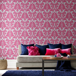 Graham & Brown - Majestic Wallpaper - Dramatic contemporary pink and silver damask wallpaper, enriched with a rich lustrous treatment. A simple elegant statement