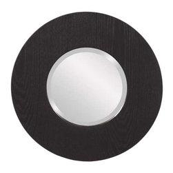Howard Elliott Oriole Round Wood Mirror - This simple mirror features a black wood grain veneer on a round frame.