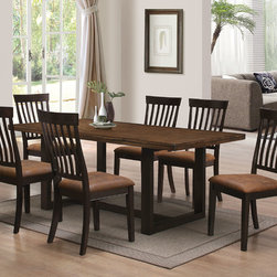 Coaster Co. - Wood River Rustic 7 PC Dining Set - The Wood River dining collection offers casual comfort in its best. The Wood Table and Chairs are great with its clean line, modern shapes and warm rustic finish with hand distressing. The set is made of solid hardwood for many years of durability and enjoyment. Dining table has u-shape base and its top features a built-up edge for an extra stout profile. The chairs are cushioned for supreme comfort with 100% polyester. Antique brown chair upholstery perfectly complete the two tone rustic amber  charcoal finish.