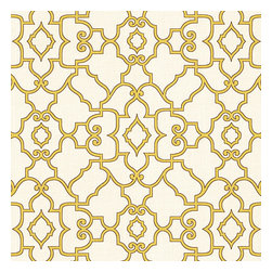 Yellow Scroll Trellis Cotton Fabric - Chic Morrocan style trellis with intricate outlined scrolls of mustard on ivory cotton.Recover your chair. Upholster a wall. Create a framed piece of art. Sew your own home accent. Whatever your decorating project, Loom's gorgeous, designer fabrics by the yard are up to the challenge!