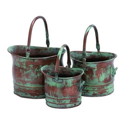 "Benzara - Contemporary Metal Planter with Rustic Style in Green - Set of 3 - Contemporary Metal Planter with Rustic Style in Green - Set of 3. If you are looking for a rustic styled metal planter then this home accessory makes an excellent choice. It is available in 3 size variants - 7 1/2"" H x 8"" W x 9"" D, 8"" H x 10"" W x 11"" D 10"" H x 12"" W x 13"" D."