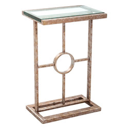"""Charleston Forge - Sofield Drink Table, Charcoal - This slender Sofield Drink Table works great in small rooms as an accent table, or next to a single chair as a drink table. Iron frame is hand crafted by the artisans of Charleston Forge, the Sofield's wrought iron base comes in a variety of fine finishes to choose from. Table measures W 15"""" x D 11"""" x H 23.25""""."""